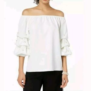 MSK Ivory off the shoulder, pearl accented. XL
